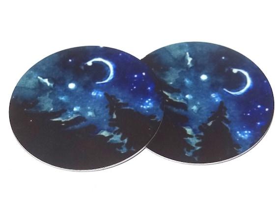 Metal Night Sky Moon Stars Forest Trees Charms Handmade