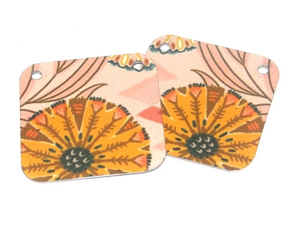 Metal Patterned Earring Charms Handmade Orange Pink Faux Tin