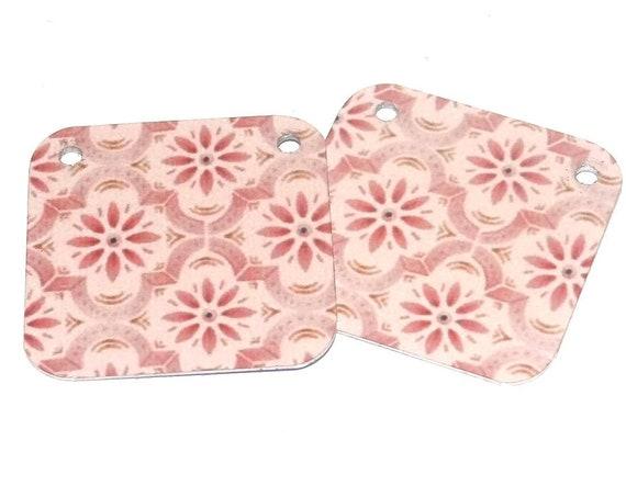 Metal Patterned Earring Charms Handmade Pink
