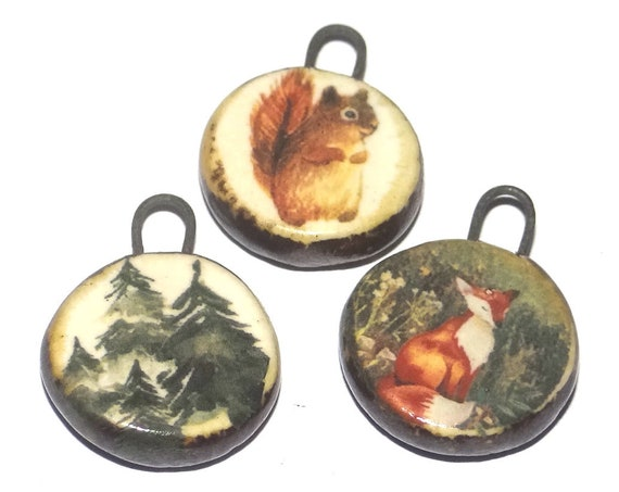 Ceramic Forest Charm Set Handmade Pottery Beads Squirrel Trees Fox