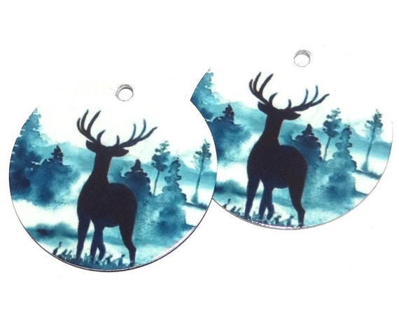 Metal Stag Scene Earring Charms Handmade