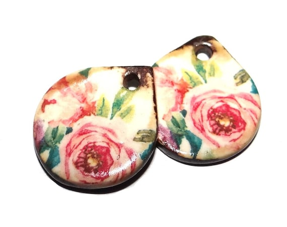 """Ceramic Floral Earring Charms Pair Beads Handmade Rustic 18mm/0.7"""" CC3-2"""
