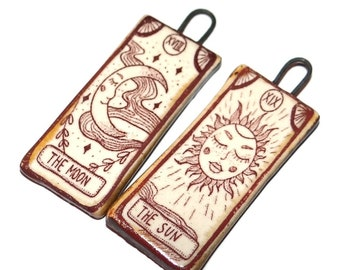 "Ceramic Tarot Cards Deck Sun Moon Earring Charms Pair Beads Handmade Rustic 35mm 1 3/8""  CC2-1"