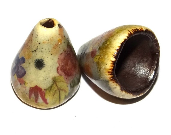 Ceramic Bloom Bell Earring Cone Charms Pair Floral Rustic Handmade Porcelain  CC1-2