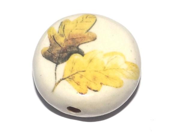 Large Ceramic Oak Leaf Focal Bead Handmade Pottery Beads