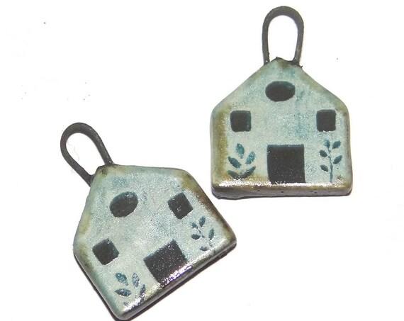 Ceramic Blue House Earring Charms Dangle Pair Beads Handmade Rustic
