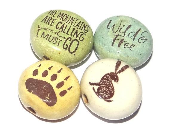 Ceramic Quote Bead Set Beads Handmade Beads Bear Hare