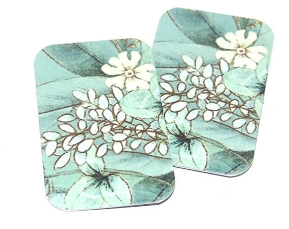 Metal Flower Floral Charms Handmade Seafoam Aqua