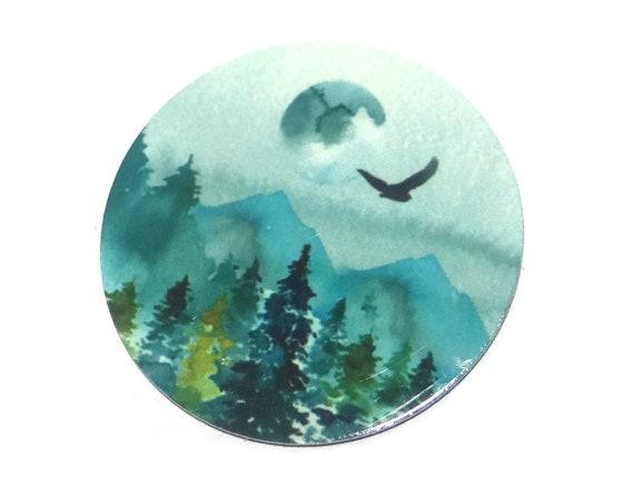 "Metal Moon Forest Scene Pendant Handmade 1"" 25mm MC6-4"