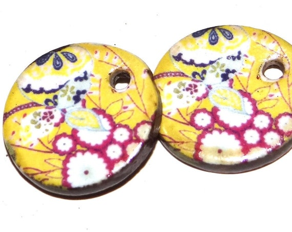 Ceramic Flower Earring Charms Pair Beads Handmade Rustic Floral Patterned