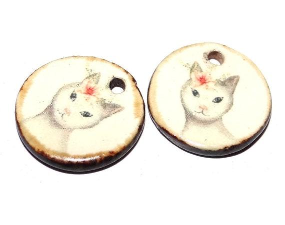 "Ceramic Cat Earring Charms Pair Beads Handmade Rustic 18mm 0.7"" CC3-1"