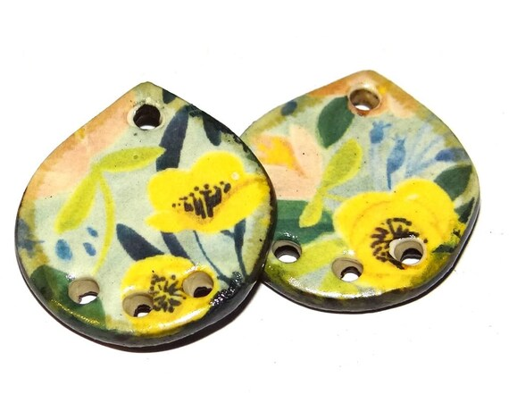 "Ceramic Flower Earring Charms Pair Beads Handmade Rustic 24mm/1"" CC3-2"