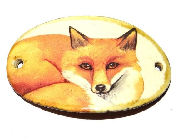 """Ceramic Fox Bracelet Bar Handmade Cuff Porcelain 45mm 1.8"""" CBB5-4"""