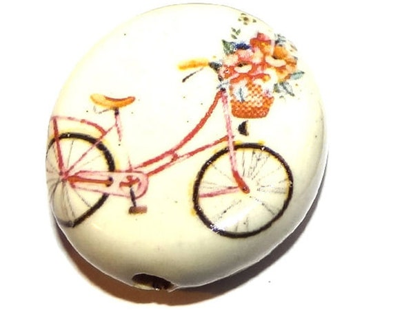 """Large Ceramic Bicycle Focal Bead Handmade Pottery Beads 30mm 1.2"""" CFB4-2"""