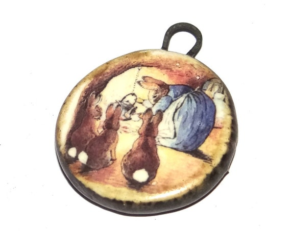 Ceramic Rabbit Pendant Handmade Focal Rustic