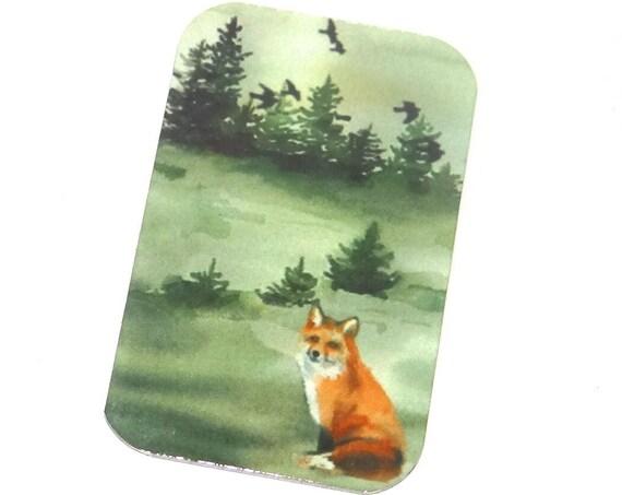 "Small Fox Woodland Forest Pendant Handmade 1.25"" 32mm MSR5-2"