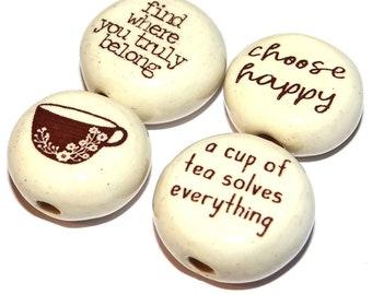 Ceramic Quote Bead Set Beads Handmade Porcelain Pottery CQB7-2