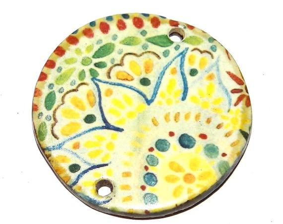"Ceramic Paisley Pendant Handmade Focal Porcelain 40mm 1.6"" CP5-1"