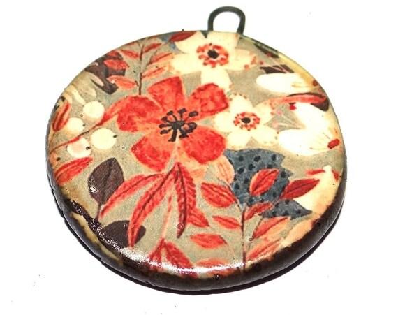 """Ceramic Flower Pendant Handmade Focal Porcelain 40mm 1.6"""" CP5-2"""