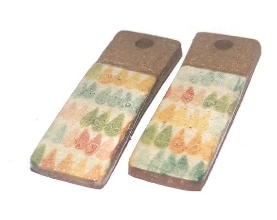 Ceramic Raindrop Earring Charms Dangle Pair Beads Handmade Rustic