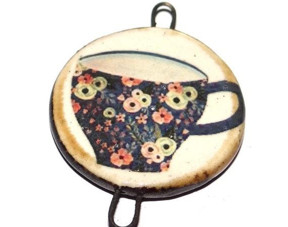 "Ceramic Tea Cup Pendant Handmade Focal Porcelain 40mm 1.6"" CP5-2"