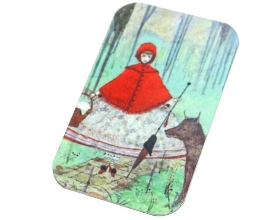 "Metal Red Riding Hood Pendant Handmade Fairy Tale 32mm 1.25"" MSR5-1"