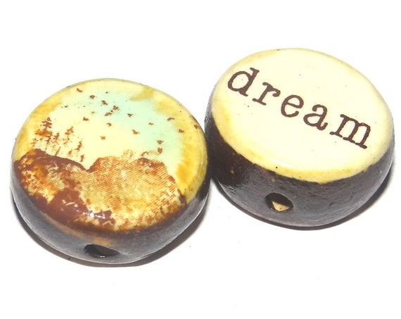 1 Ceramic Double Sided Quote Bead Porcelain Handmade Dream Landscape