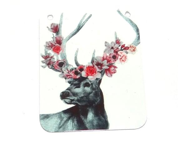 """Large Metal Stag Deer Floral Pendant Handmade 45mm 1.8"""" MLP7-3"""