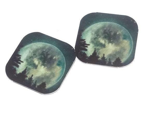 "Metal Full Moon Earring Charms Handmade 16mm 5/8"" MC1-3"
