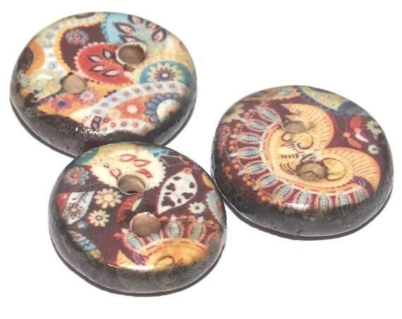 3 Ceramic Paisley Buttons Handmade Porcelain