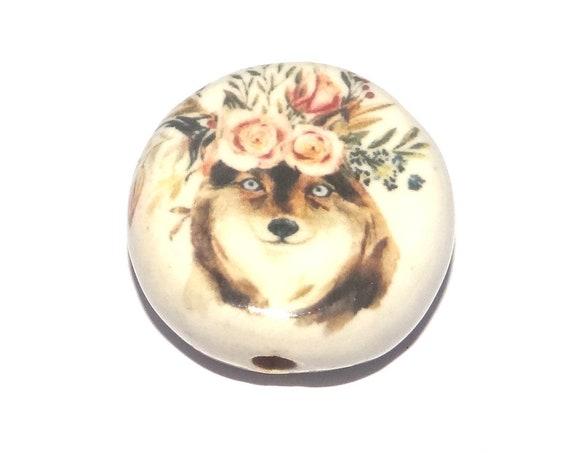 Ceramic Wolf Focal Bead Handmade Pottery Beads