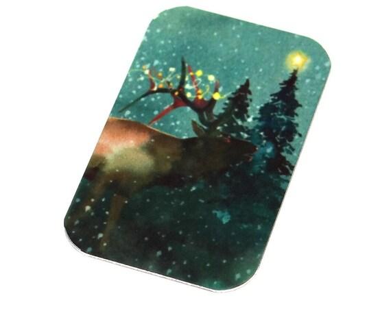 "Small Metal Reindeer Stag Pendant Handmade 32mm 1.25"" MSR5-2"