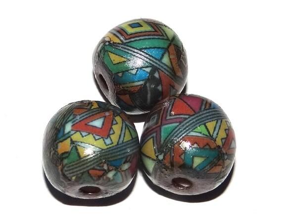 Ceramic Bead Set Stoneware Handmade Pottery Beads Geometric