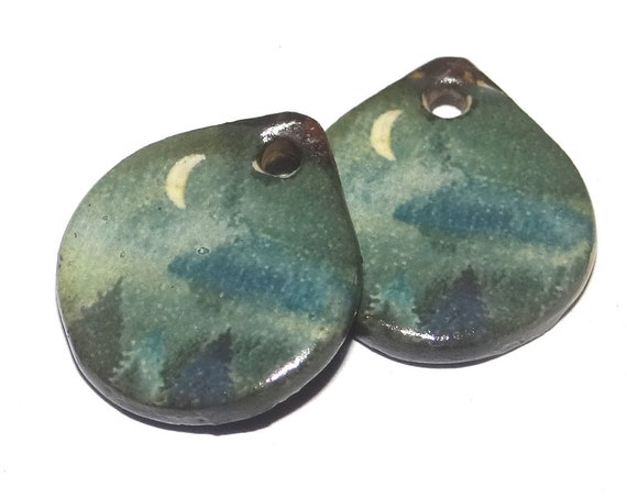 Ceramic Moon Scene Earring Charms Dangle Pair Beads Handmade Rustic