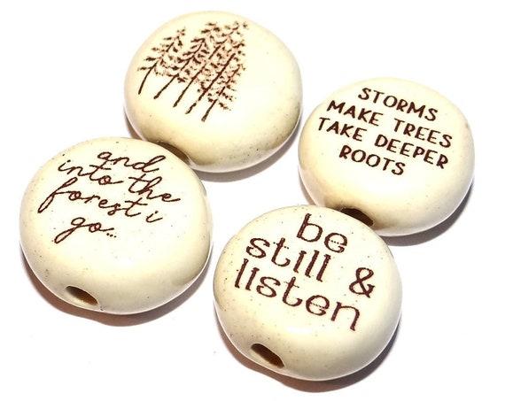 "Ceramic Quote Bead Set Beads Handmade Porcelain Pottery 15mm 0.6"" CQB7-1"