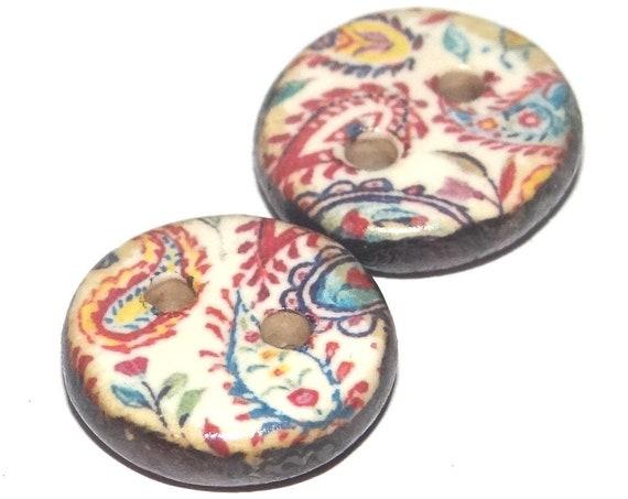 2 Ceramic Paisley Buttons Handmade Porcelain
