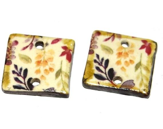 "Ceramic Flower Earring Charms Pair Beads Handmade Rustic 20mm/0.8"" CC1-1"