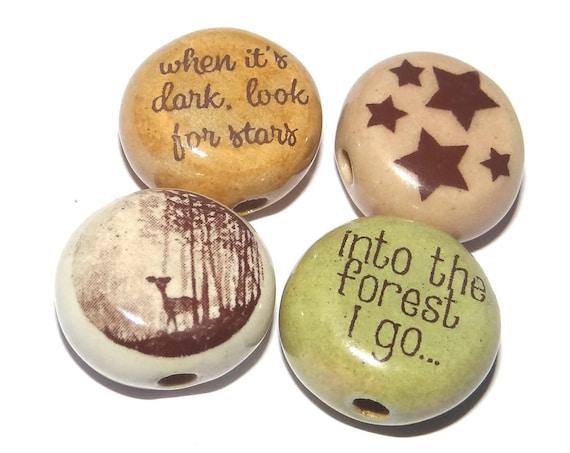 Ceramic Quote Bead Set Beads Handmade Beads Deer Stars