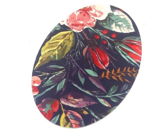 """Metal Floral Pendant Handmade Pink Navy Leaves 50mm 2"""" MLP7-1"""