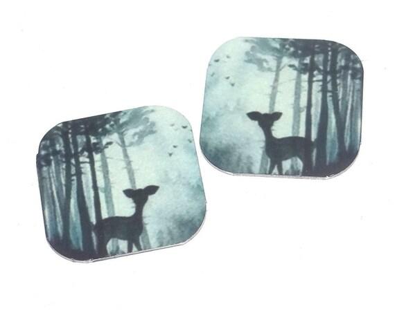 """Metal Deer Earring Charms Handmade Animal Wildlife 16mm 5/8"""" MC2-3"""