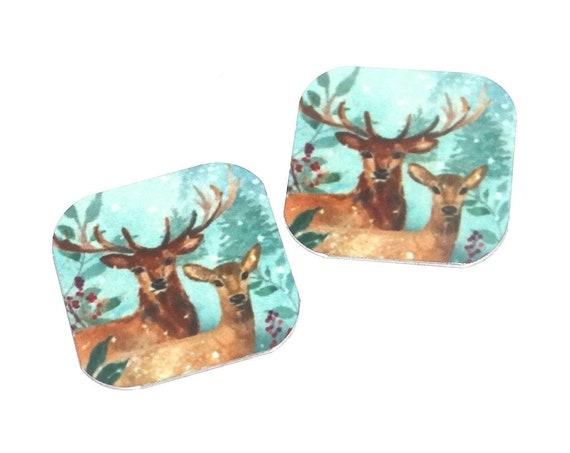 "Metal Stag Earring Charms Handmade Animal Wildlife  16mm 5/8"" MC2-3"