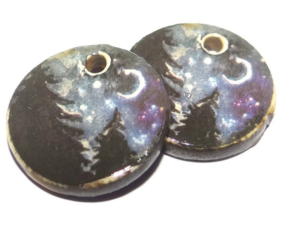 Ceramic Forest Moon Night Sky Earring Charms Dangle Pair Beads Handmade Rustic