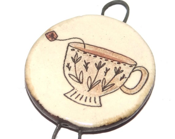Ceramic Teacup Pendant Handmade Focal Porcelain
