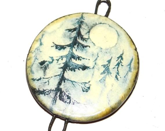 "Ceramic Moon Tree Pendant Handmade Focal Porcelain 40mm 1.6"" CP5-2"