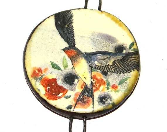 "Ceramic Bird Pendant Handmade Focal Porcelain 40mm 1.6"" CP5-2"