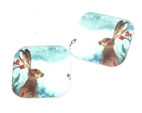 "Metal Hare Earring Charms Handmade Animal Wildlife 16mm 5/8""  MC2-3"