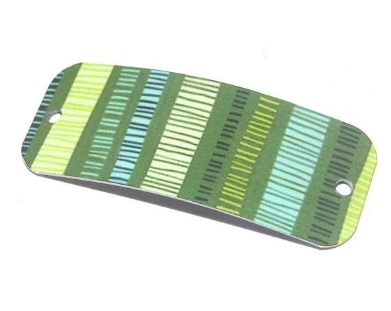 "Metal Green Striped Bracelet Bar Handmade Cuff 40mm 1.6"" MBB3-1"