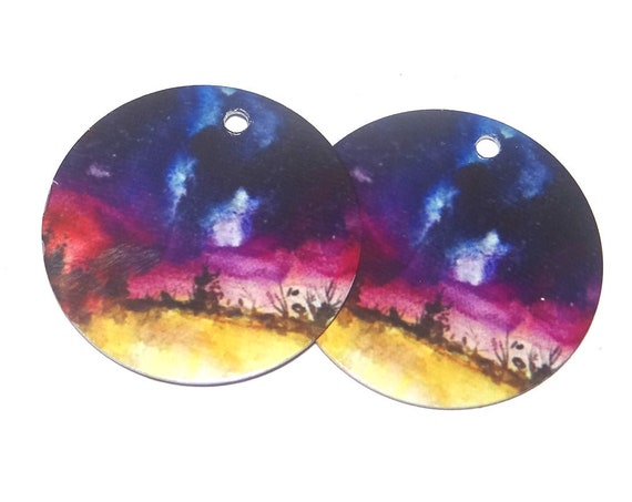 "Metal Night Sky Landscape Trees Earring Charms Handmade 1"" 25mm MC6-2"
