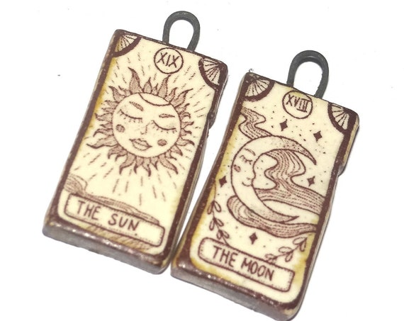 Ceramic Tarot Cards Deck Sun Moon Earring Charms Pair Beads Handmade Rustic