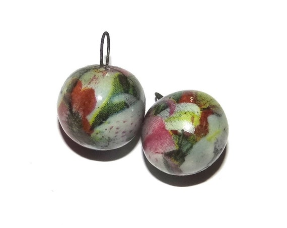 Unusual Ball Charms Ceramic Earring Charms Pair Rustic Stoneware Pottery Floral
